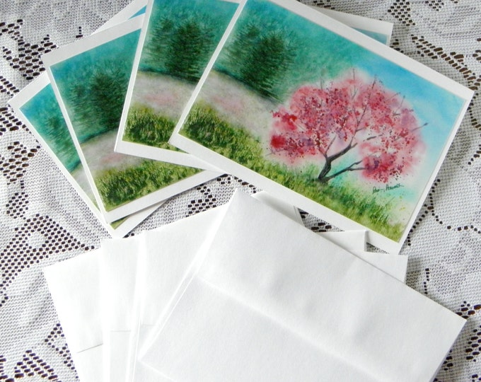 Pink Floral Notecards, 4-piece set, watercolor reproduction, coordinating envelopes