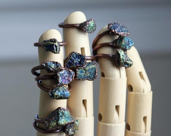 Chalcopyrite Ring Electroformed Copper Ring Peacock Ore Stone Ring Rustic Gemstone Metallic Stone Chunky Ring