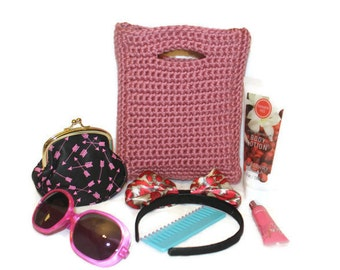 Little Girl's Crochet Purse, Flower Girl, Spring, Summer, Fall, Winter, Childs Bag, Toddler Girl Gift, Pink Tote, Crochet Lunch Bag