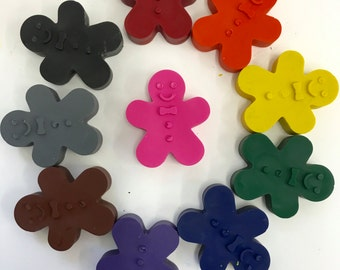10 Gingerbread Crayons Stocking Stuffers - Holiday - Christmas - Party Favors - Gifts