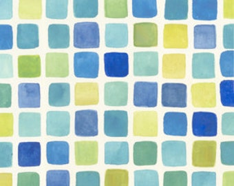 Mosaic Tile Fabric - Azuli by Julie Paschkis for In The Beginning - 9JPG Blue - Priced by the 1/2 yard
