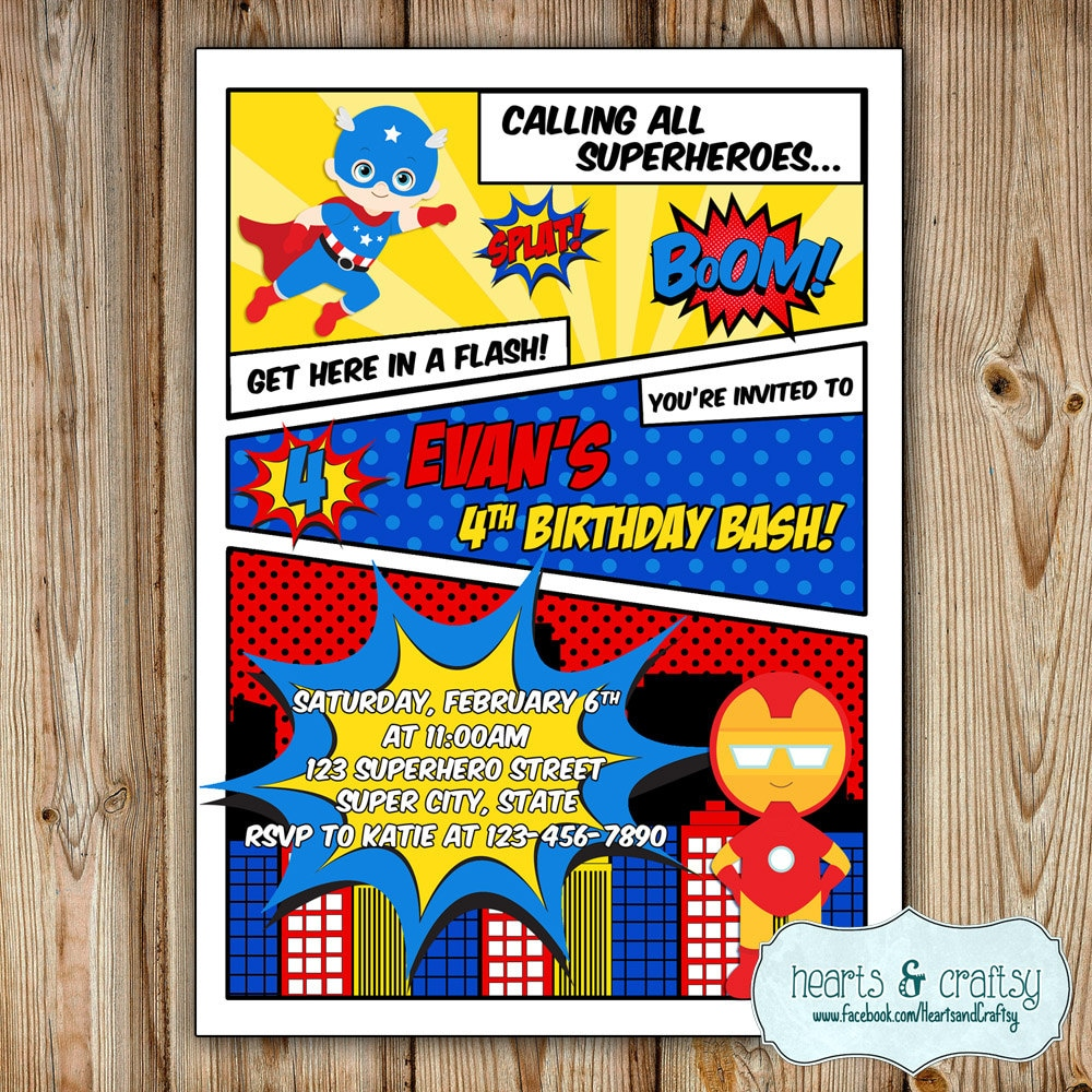 Superhero Party Invitation / Super Hero Birthday Invitation