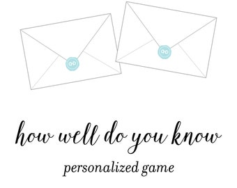 Personalized How Well Do You Know Bride Bridal Shower or Mommy Baby Shower Game, Customized Digital PDF File, Printing Available