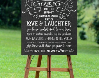 thank you wedding sign, printable thank you sign, thank you sign, chalkboard wedding sign,printable wedding sign,digital wedding sign, 16x20