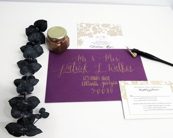 Custom Wedding Envelopes, Custom Calligraphy, Gold Calligraphy, Hand Lettering, Wedding Invitations, Envelope Addressing, Custom Envelopes