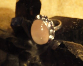 Rose Quartz and Sterling Silver Ring..... size 8 only