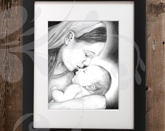 Mary & the Christ Child Pencil Sketch | Baby Jesus Graphite Drawing | Original Artwork Titled 'As One Whom His Mother Comforteth' (digital)