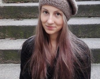 Beret for winter, warm knitted beret, women winter hat, brown beret