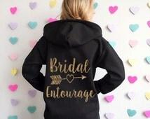 Bridal Entourage Hoodie Jacket. Bridal Entourage Sweatshirt. Bridesmaid Sweatshirt. Bridesmaid Jacket. Wedding Sweater. Bachelorette Jacket