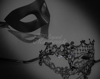 Black Masquerade Mask for Couples, His & Hers Masquerade Mask, Filigree Metal Masquerade Mask, Mardi Gras Masks