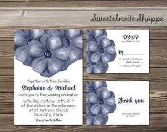 Blue Floral Wedding Invitation Suite, Indigo Blue Floral Invitation, Navy Blue Rustic Invitation, RSVP, Thank You, Blue Peony Invitation