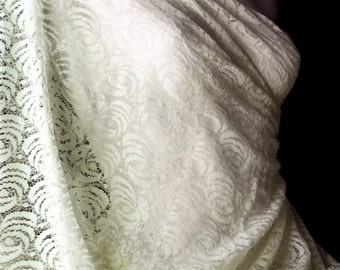 Shimmery Ivory Rose Embroidered Lace Fabric Wedding Dress Floral Theme Chantilly Lace for DIY Brides Gown Bridesmaid dress Mothers Scarf