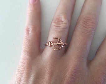 Rose Sideways Anchor Ring - Twisted Band Sailor Ring - Rose Gold Naval Ring - Cable Band Nautical Ring - Bridesmaid Gift