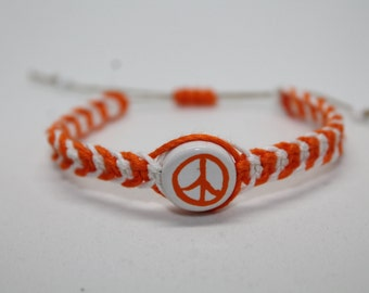 Peace Sign Orange/White Fishbone Hemp Bracelet
