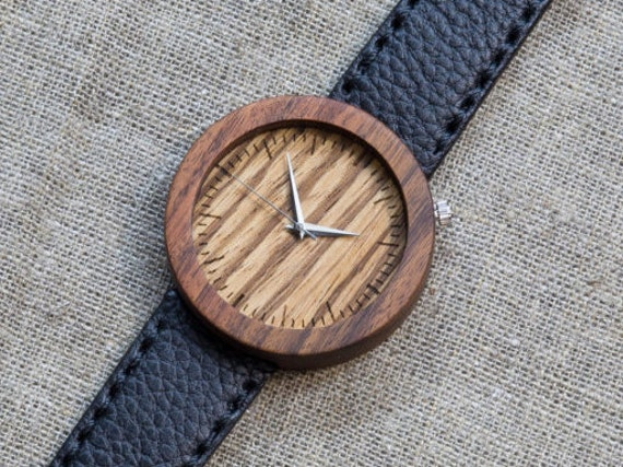 Rosewood + zebrano minimal wood watch , Majestic Watch,  Black Genuine Leather strap + Any Engraving / Gift Box. Anniversary  gift