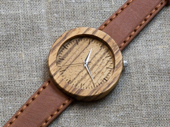 African Zebrano minimal wood watch , Majestic Watch, Terracota  Genuine Leather strap + Any Engraving / Rady Gift Box. Anniversary  gift