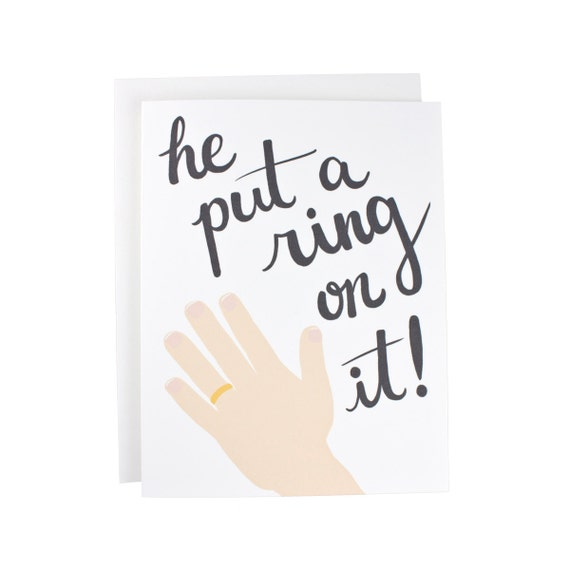 He Put A Ring On It! Gay Couple greeting card, engagement, wedding, couple, typography, LGBT