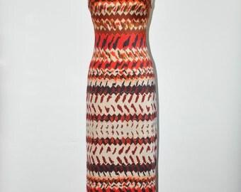 60s graphic maxi dress / 1960s strapless column dress / vintage ethnic print dress