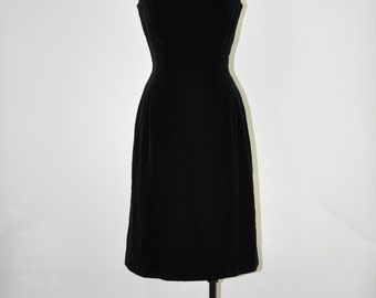 50s black velvet dress / vintage sheath dress / strappy wiggle dress