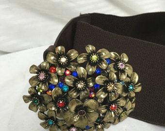 Brown, stretchy belt, large, crystal, brooch buckle