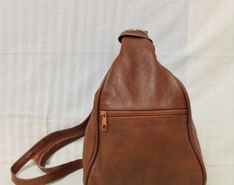 Free Ship Brown Leather Backpack Made in Mexico