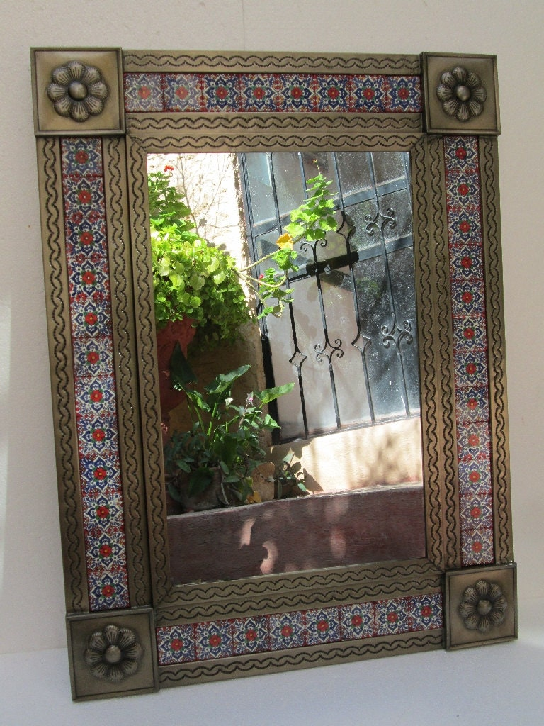 PUNCHED TIN MIRROR mixed talavera tile, hand made mexican ... |Talavera Mirror