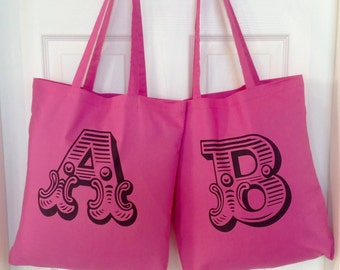 Personalised Alphabet Letter Tote Bag Pink Shopping Bag Alphabet Letters Cotton Alphabet Letters