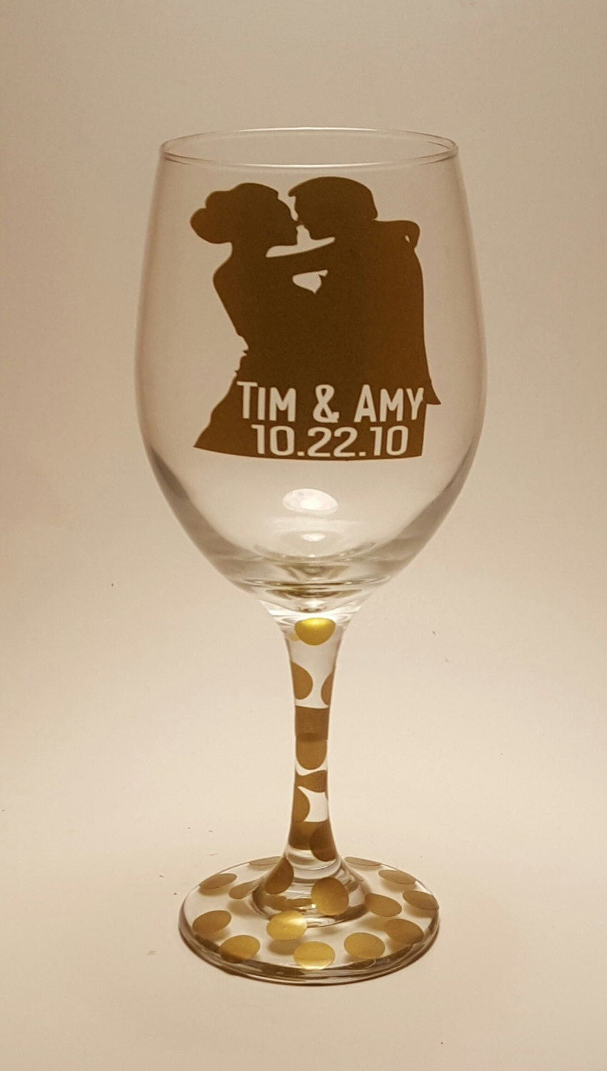 First Kiss Wine Glass Personalized Custom Wedding Cheap Favors Gifts