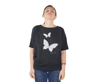 Vintage 80s Butterfly Tee | Black Dolman Sleeve T-Shirt | Size Small | Cute 1980s Grunge Top | Unique Graphic Tshirt