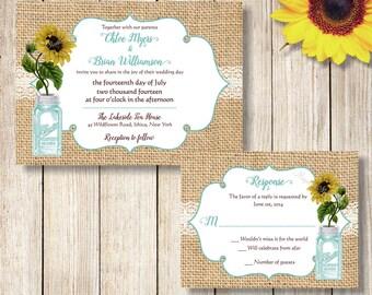 Mason Jar Wedding Invitation, Rustic Sunflower and Burlap Wedding Invite, Mason Jar and Sunflower Wedding Invite, Printable Rustic Invite