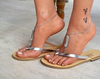 Leather women flip flops, leather sandals, V strap sandals, thong sandals, boho sandals, silver sandals