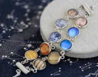 Solar System Bracelet, Planets Bracelet, Space Bracelet, Earth Moon Jupiter Venus Bracelet, Solar System Jewelry, Galaxy Bracelet, Planets