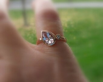 Morganite Pear Diamond 14K Gold, White, Yellow, or Rose Gold, Made to Order, Unique Engagement