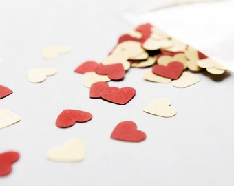 300 Red and Gold Confetti. A set of red and golden heart confetti - Wedding decoration - Party decor - Heart confetti - Table scatter - Love