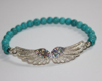 Turquoise with Iridescent Angel Wings Bracelet