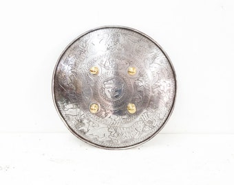 Steel Shield with Etched Animal Decoration
