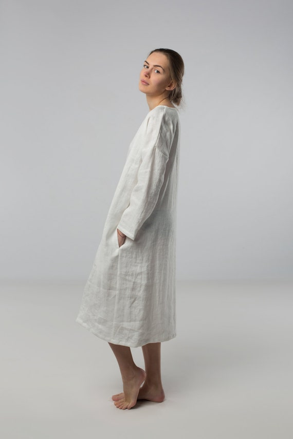 linen dress milky white long tunic minimal stone washed clothes lo f27fce8a294e4
