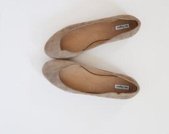 "Leather suede ballet flat ""ARIEL"""