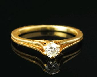 1/4 ct 14k Gold Vintage Diamond Solitaire Ring Size 5