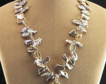 Lucas Lameth Sterling Silver Blister Pearls & Crystal Necklace 18""