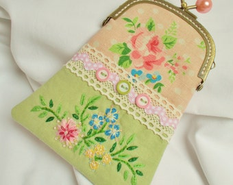 Eva hand embroidered purse in pretty greens and pinks