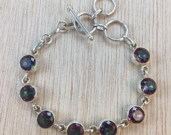Sterling Silver Mystic Topaz Gemstone Bracelet