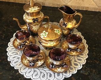 Vintage CZECH/BOHEMIAN Purple Glass~ Gold Gilt & Enameled Bohemian 13 Piece Tea Set