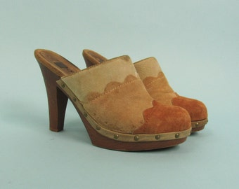 90s Suede High Heel Backless Clogs, Size 8