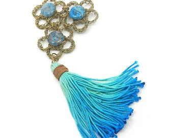 Turquoise Tassel Necklace with Agate - Aqua Blue Statement Necklace - Tassel Jewelry