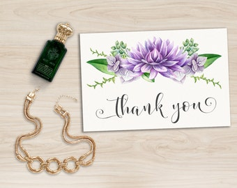 Floral Thank you Card Printable, Purple Thank you Card, Wedding Thank you Card, Bridal Shower Thank you Card, Baby Shower Thank you Card