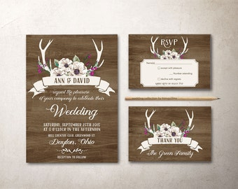 Deer Antlers Wedding Invitation Printable, Rustic Wedding Invitation, Fall Winter Wedding Invitation, Antlers Woodland Wedding Invitation