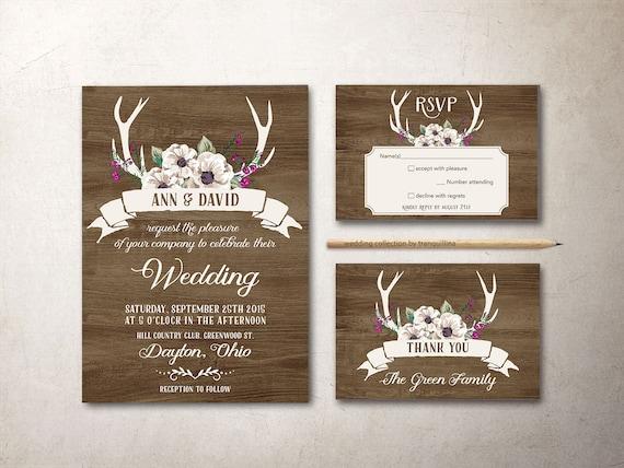 Deer Wedding Invitations: Deer Antlers Wedding Invitation Printable Rustic Wedding