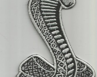 1 PC Black And Gray Cobra Snake Iron On Patch Applique 52316