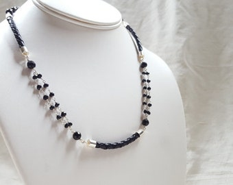Modern Sterling Silver Black Leather and Black Spinel Multi Strand Gemstone Collar Necklace Edgy Minimalist High End Fine Jewelry Life Bijou